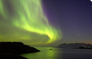 northern ights (Aurora Borealis) over the fjords