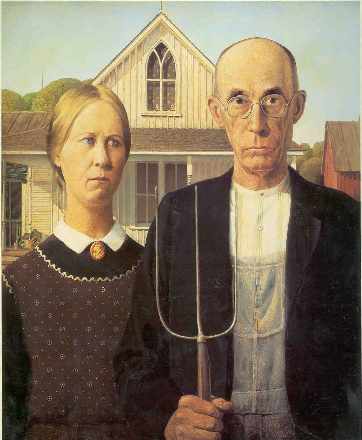 """grant wood and the american gothic Had grant wood not made the painting """"american gothic"""" (1930), there would not be a grant wood retrospective now at the whitney museum this would be a pity, because the show fascinates as a plunge into certain deliriums of the united states in the nineteen-thirties, notably a culture war between cosmopolitan and nativist sensibilities."""