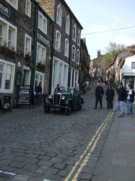 haworth main street with vintage car