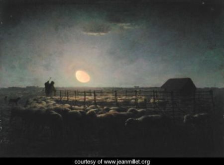 The-Sheepfold,-Moonlight,-1856-60 Millet
