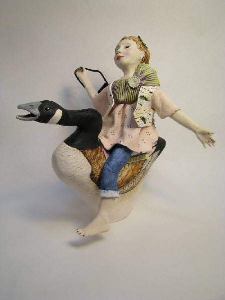 Girl riding a duck by Gail Ritchie