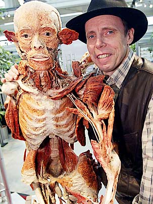 Gunther Von Hagens and one of his exhibits (the delightful plinther looked a lot better than this fellow)