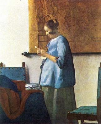 vermeer-woman-in-blue, what are the contents of her letter? all the clues are in the picture