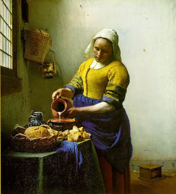 Vermeer milkmaid, even the milk is captured in mid flow