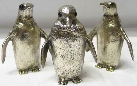 Vintage silver penguin cruet set
