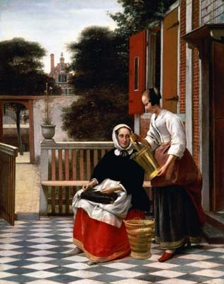 woman and a maid with a pail in a courtyard, timeless tranquility