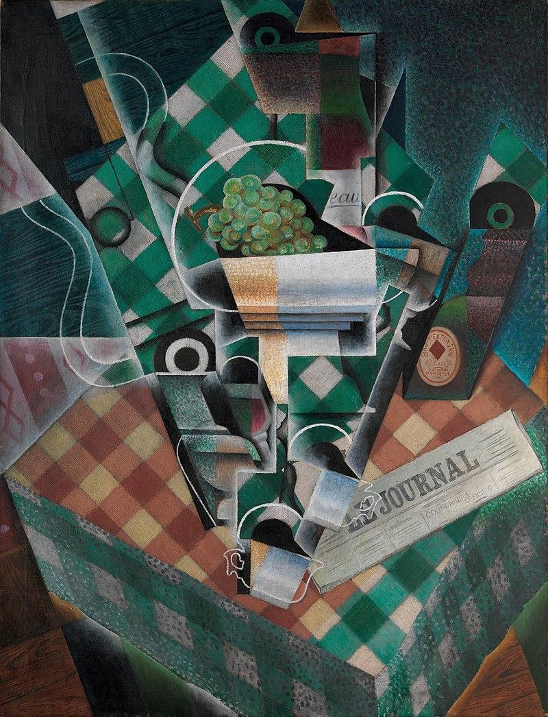 800px-Juan_Gris,_1915,_Nature_morte_à_la_nappe_à_carreaux_(Still_Life_with_Checked_Tablecloth),_oil_on_canvas,_116.5_x_89.3_cm